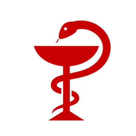Snake met kop farmaceutische vector teken