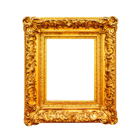 Antique painting gold frame isolated on white background Stok Fotoğraf - 87594031