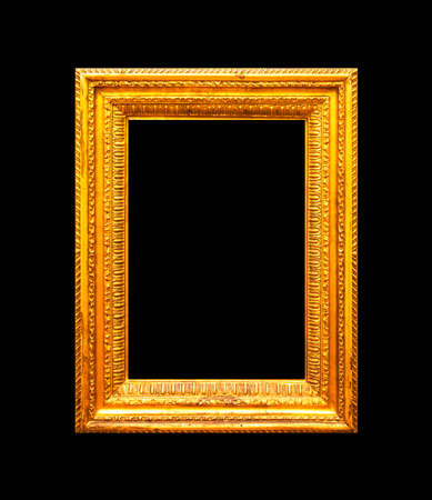 Vertical portrait gold frame isolated on black background