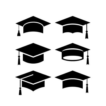 Set of academical hat vector icons  イラスト・ベクター素材