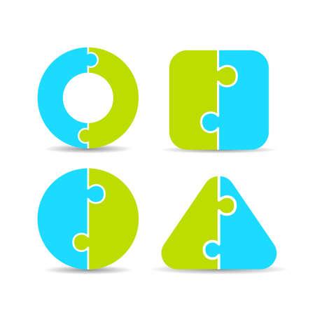 Jigsaw puzzle diagrams set Ilustração
