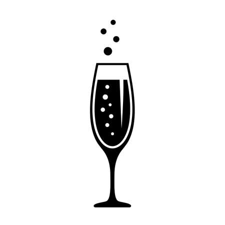 Glass of champagne, celebration concept icon