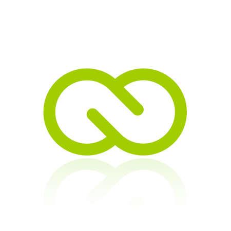 signo infinito: Logotipo verde del bucle infinito
