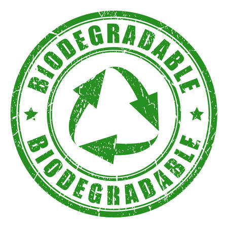 Biodegradable green vector stamp Çizim