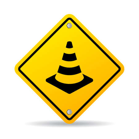 dangerous work: Road safety cone vector sign Illustration