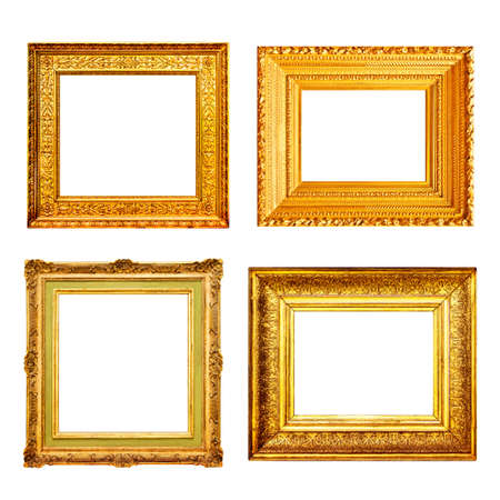 Set of many antique gold frames isolated on white background