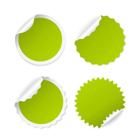 Green round sticker with curled corner