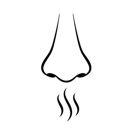 Pictograma de vector de sentido de la nariz y el olfato