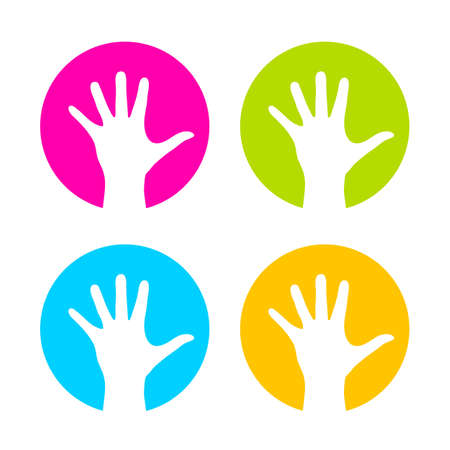 stretch: Raised hand vector logo Illustration