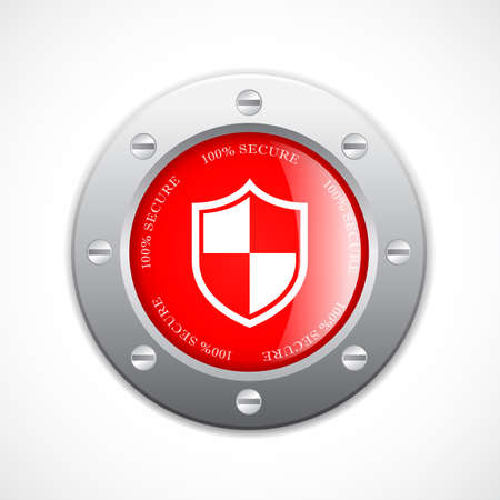 metallic button: Solid metal secure web button Illustration