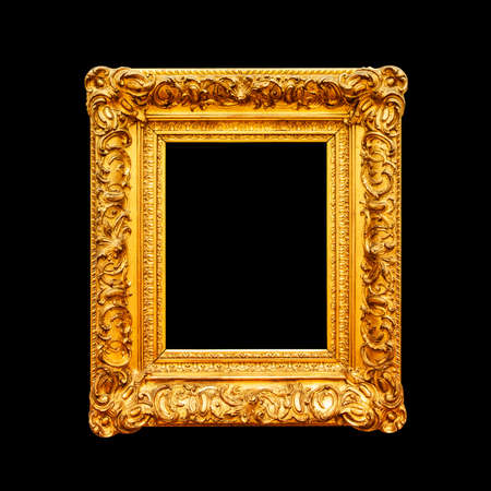 Luxury ornate portrait frame isolated on black background Фото со стока