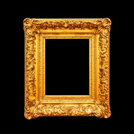 Luxury ornate portrait frame isolated on black background Reklamní fotografie