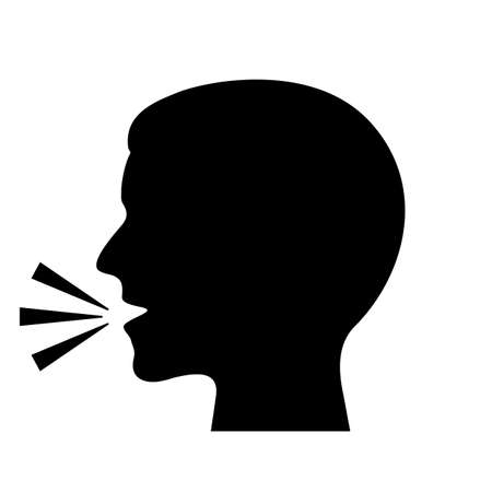 Man speaking vector silhouette