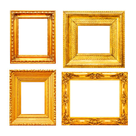 Empty gold painting frame set isolated on white background