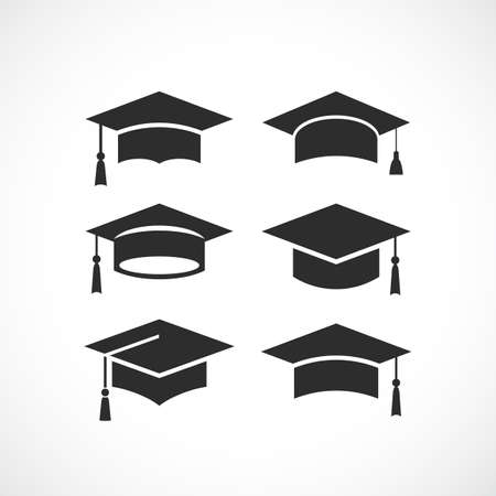 Icône de silhouette cap noir étudiante silhouette
