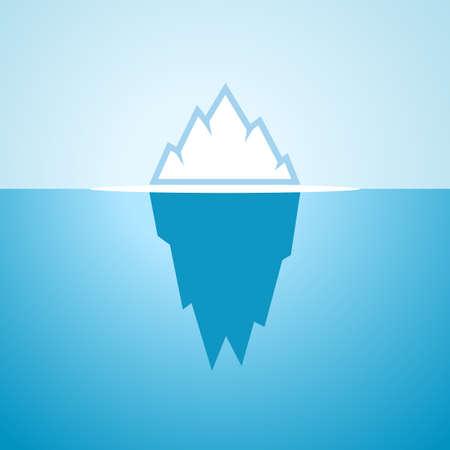 Drijvende ijsberg in blauw water, vectorbeeldverhaalpictogram Vector Illustratie