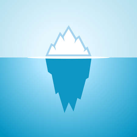 tip of iceberg: Floating iceberg in blue water, vector cartoon icon