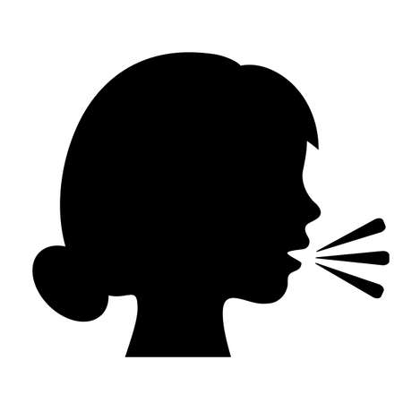 Speaking woman silhouette icon