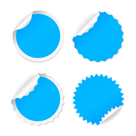Blue round vector sticker set