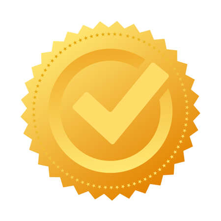 Gold notary approval seal Vectores