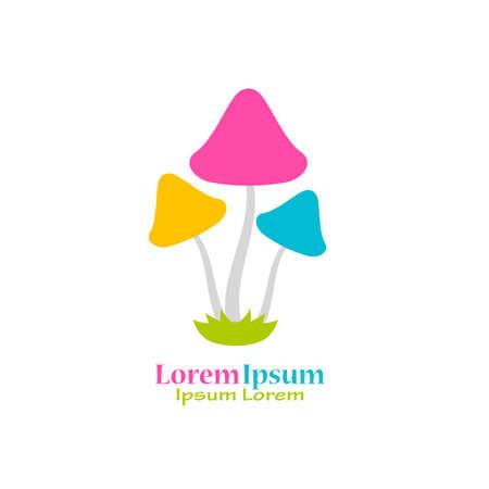 Colorful mushrooms vector logo