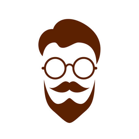 Nerd retro face vector illustration