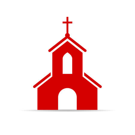 Red church vector sign Banco de Imagens - 89089266