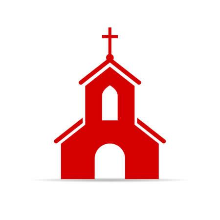Rode kerk vector teken Vector Illustratie