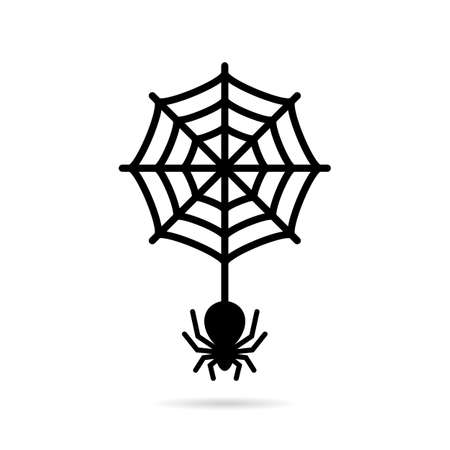 Araña lobo y el icono circular de telaraña Foto de archivo - 89089272