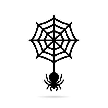 Wolfspin en circulaire spiderweb pictogram Stock Illustratie