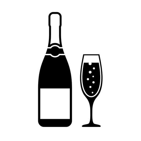 Champagne bottle and glass vector icon