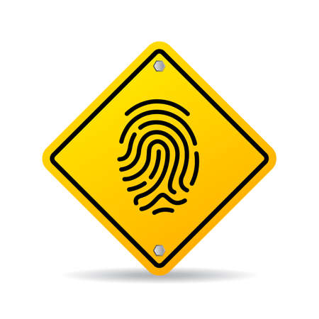 Fingerprint yellow vector sign