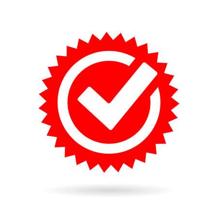 Red tick mark icon Illustration