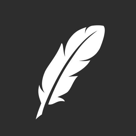 White feather vector silhouette Illustration