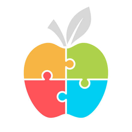 analyze: Jigsaw puzzle apple, template for infographics