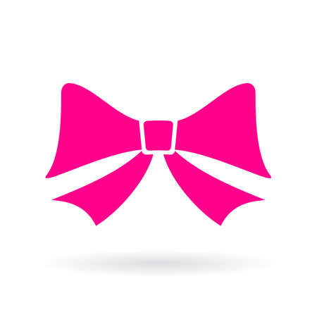 Pink bow vector icon Illustration