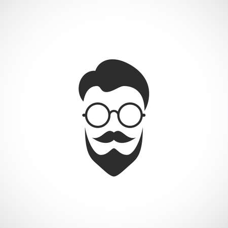 Hipster face with retro roung glasses