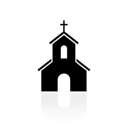 Church black silhouette vector sign Çizim