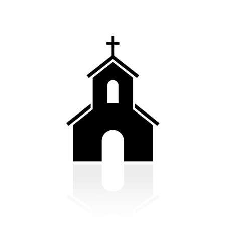 Church black silhouette vector sign Stock Illustratie