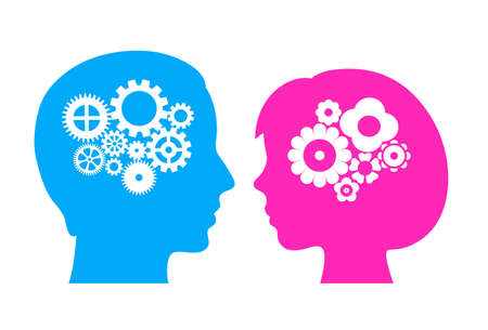 Icono de vector de cerebro masculino y femenino Ilustración de vector