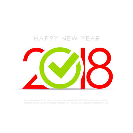 2018 New Year symbol with check mark Illustration