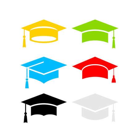 Six color graduation hats