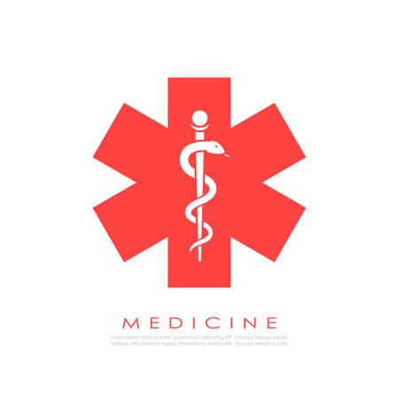 Medicine vector logo with snake