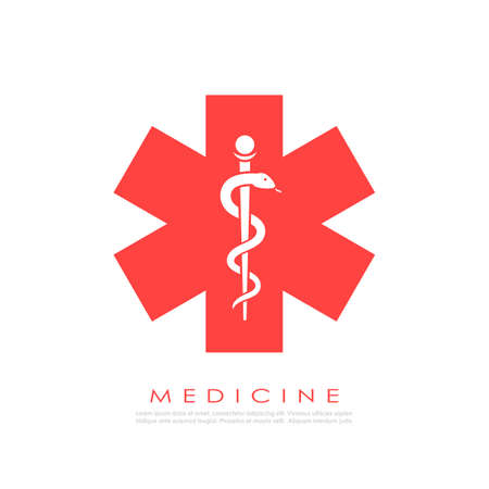Medicine vector logo with snake