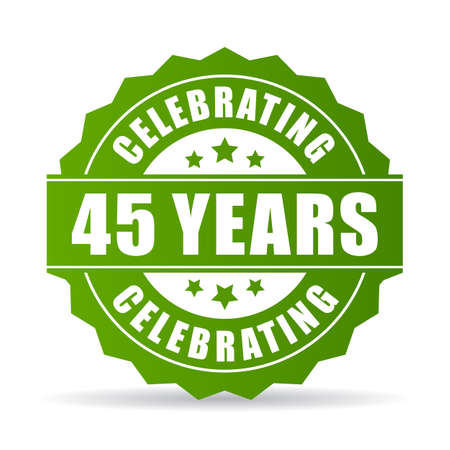 45 years celebrating green vector icon Illustration