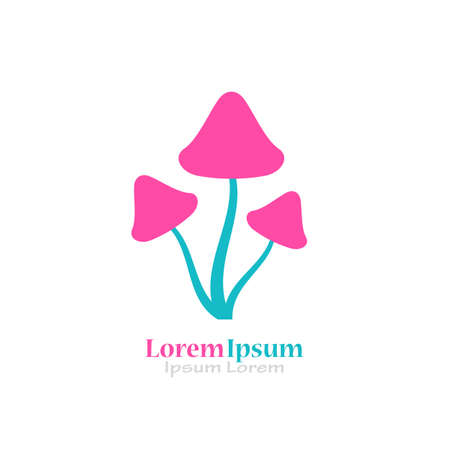 Magic mushrooms vector logo Illustration