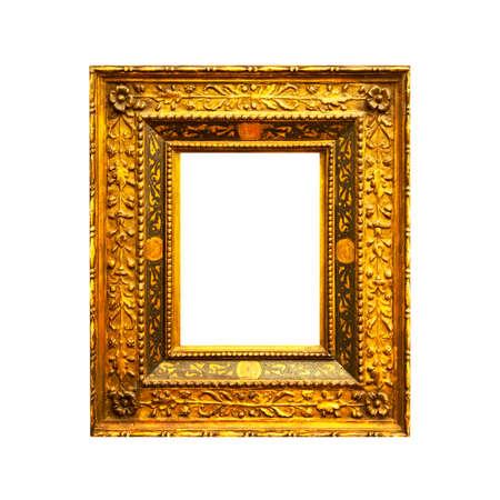 Old antique rectangular frame isolated on white background