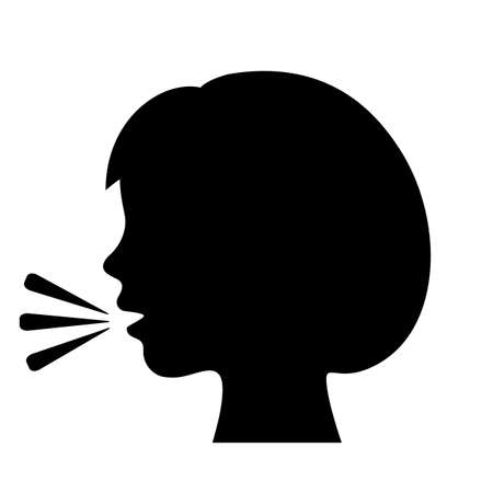 Talking girl vector icon