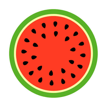 Watermelon round slice vector icon Illustration