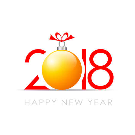 2018 Happy New Year greeting card with Christmas ball decoration